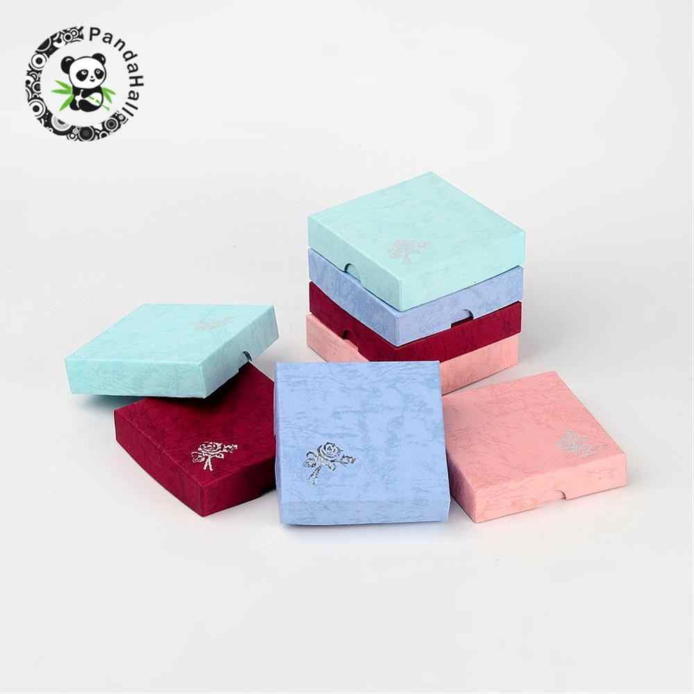12pcs Square Bracelet Boxes Valentines Day Gifts Boxes Packages Cardboard Mixed Color 88x88x22mm