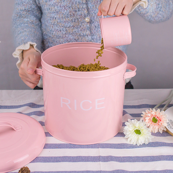10 Jin Rice Bucket Pet Food Pot Seal Storage Tank Steel Househould Moisture-proof Cover Sealing Kitchen Utensils Multifunction фото