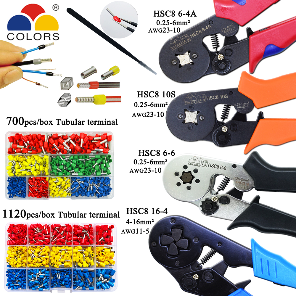HSC8 10S 0.25-10mm2 23-7AWG HSC8 6-4A/6-6 0.25-6mm2 HSC8 16-4 Crimping Pliers Electric Tube Terminals Box Mini Brand Clamp Tools