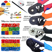 Hsc8 10s 0.25 10mm2 23 7awg hsc8, 6 4a/6 6 0.25 6mm2 hsc8 16 4 ferramentas, alicate de friso elétrico tubo terminais caixa mini marca braçadeira