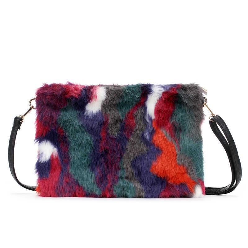 21df8ab989 New Fashion Women s Clutches Bags Lady Mixed Faux Fur Clutch Handbags  Shoulder Bags Pouch Party Messenger