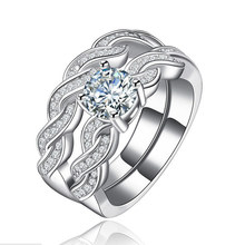 Silver 925 Ring Diamond Rings Treasure gold zircon twist arm couple ring two-piece Lady Engaged Couple Stone TurquoiseB032