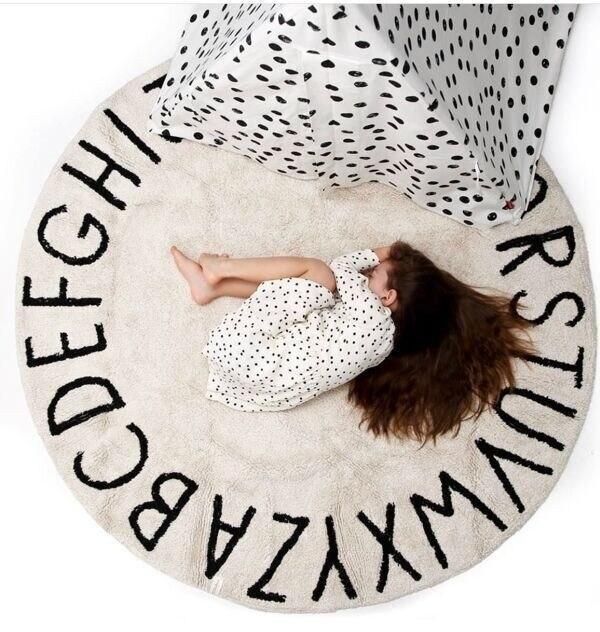 GUUUUO nordique solide 26 lettres ronde tapis Pileb tapis pour salon enfants jeu Pad tente terre Pad bébé chambre tapis doux
