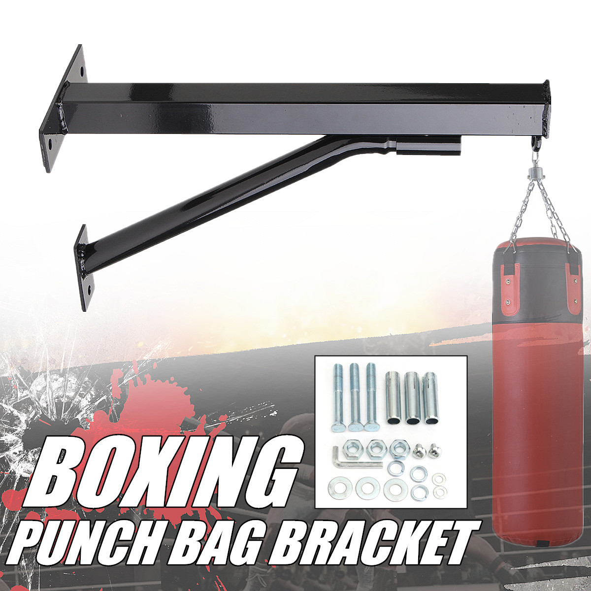 Heavy Duty Punching Bag Wall Bracket Steel Mount Hanging Stand Boxing Holder