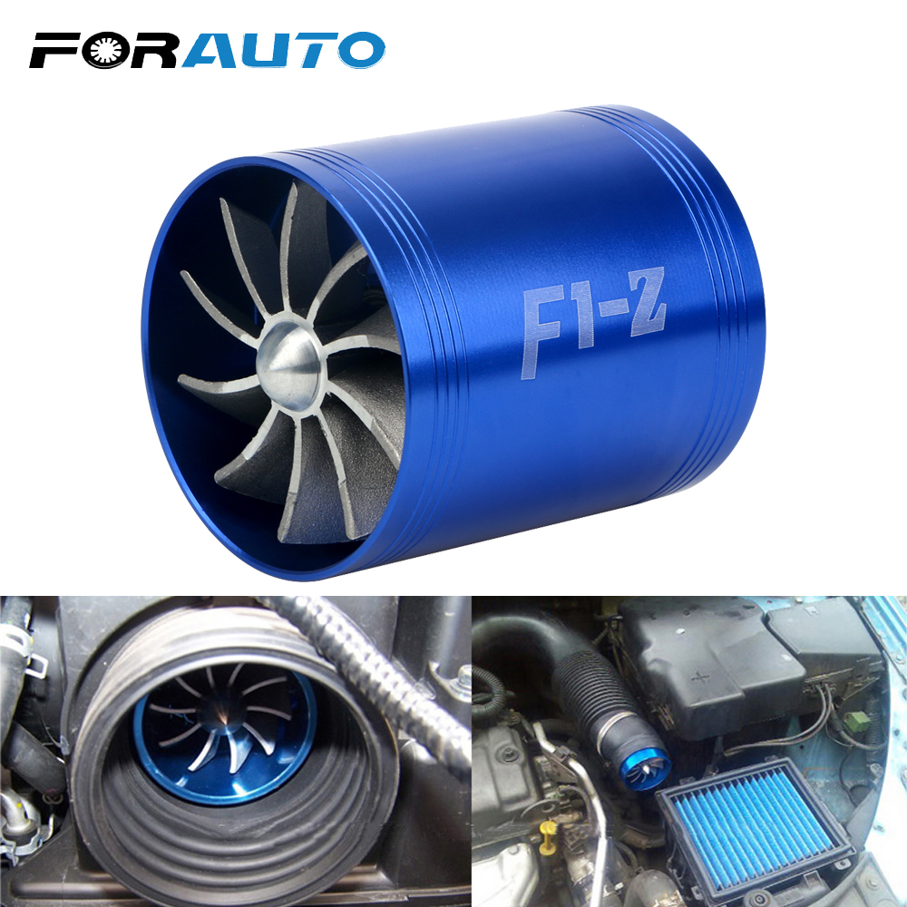 FORAUTO Car Supercharger Gas Fuel Saver Fan Auto Air Intake Double Turbine Turbo F1-Z For Vehicle Engine Car Modification