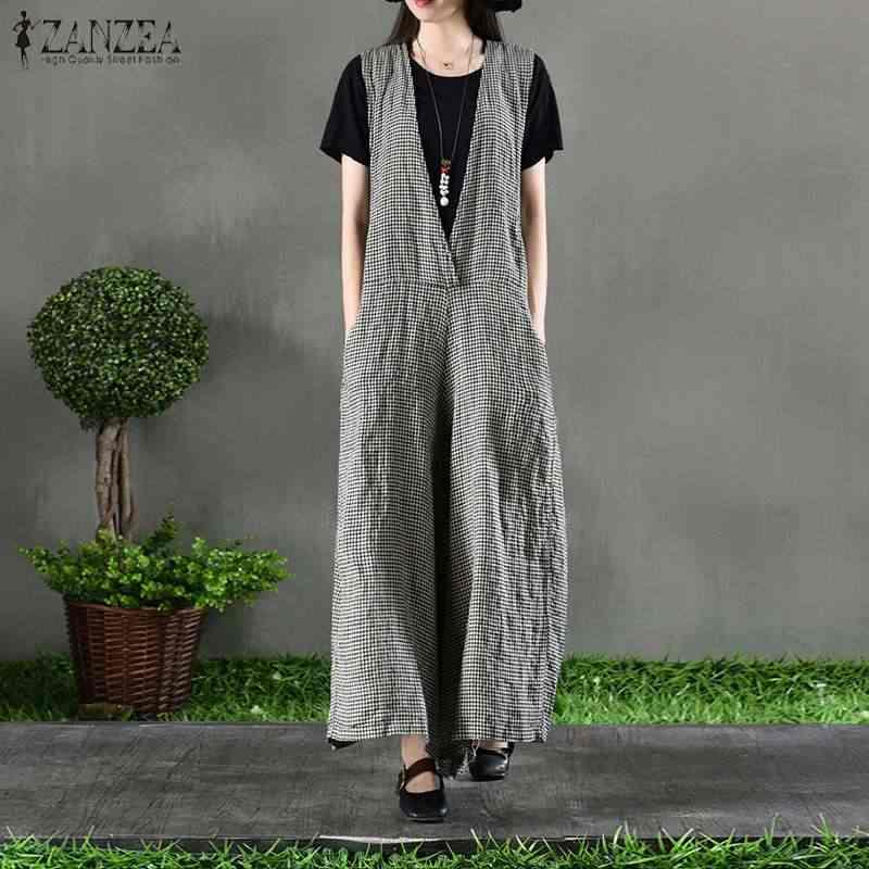 ZANZEA Plaid Jumpsuit para mujer mono largo pierna ancha pantalones de algodón Lino cuello en V largo monos Retro talla grande
