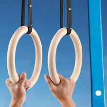 1 Piece Birch Wood Gymnastic Rings Pull Up Gym Ring for Home Fitness Strength Training Adjustable Straps for Optional