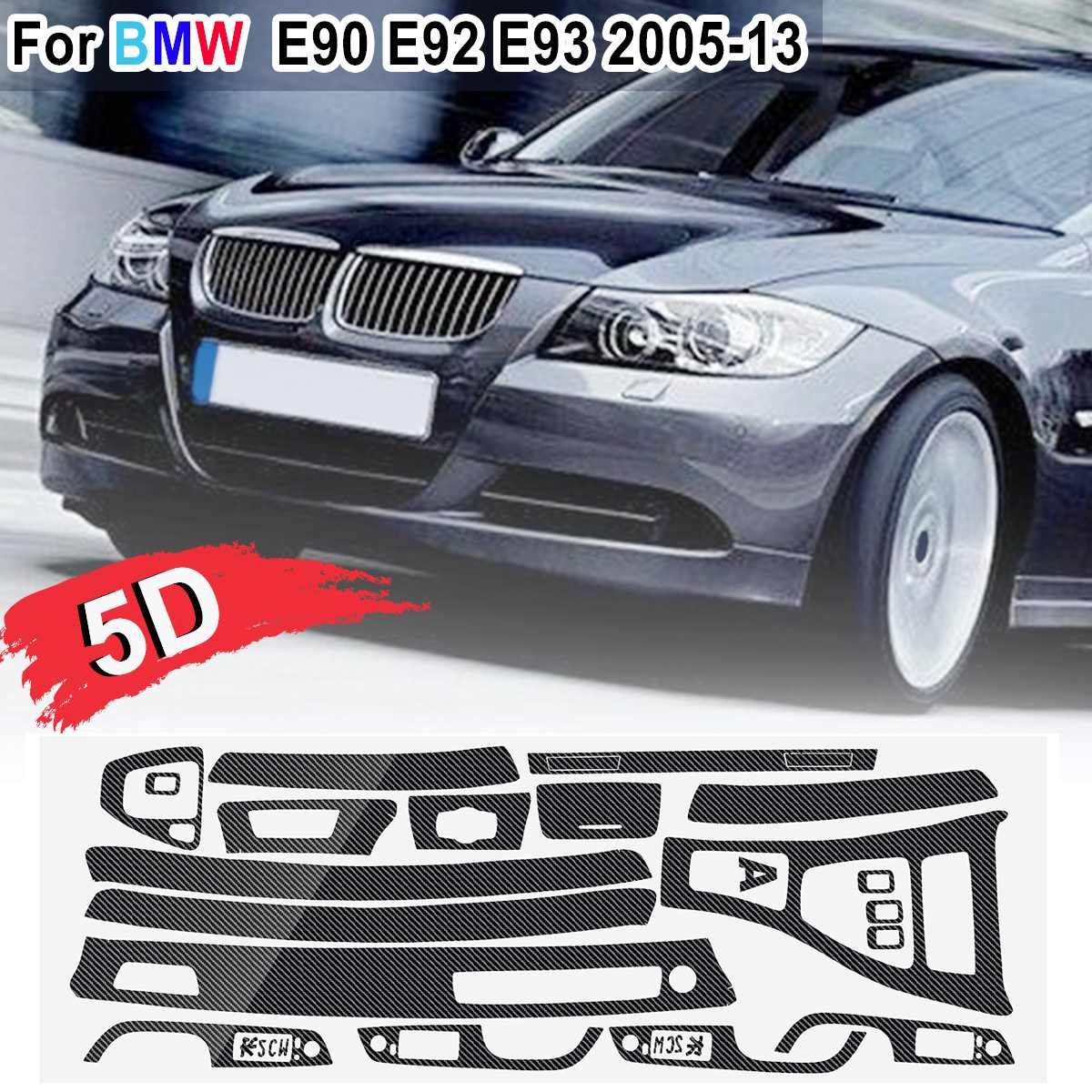 Image 2 - 15pcs Only RHD 5D Glossy/ 3D Matte Carbon Fiber Style Sticker Vinyl Decal Trim For BMW E90 E92 E93 2005 2013-in Car Stickers from Automobiles & Motorcycles