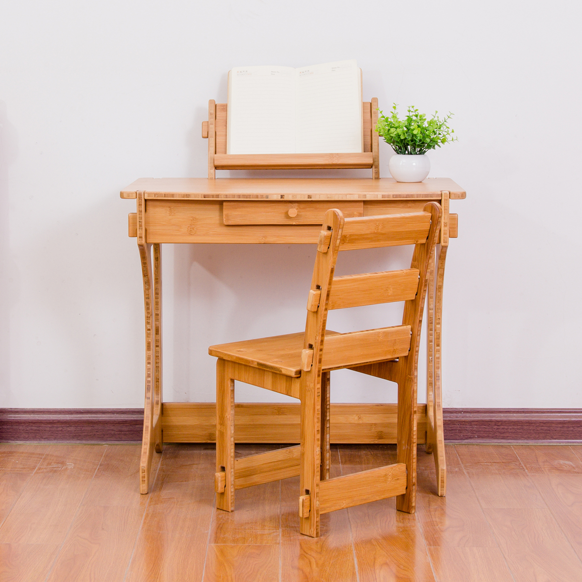 Eco Friendly Screwless Bamboo Wooden Children Kids Study Table Desk