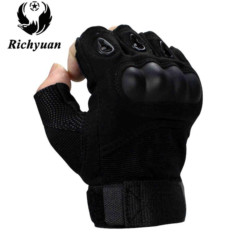 Bekleidung & Schutzausrüstung US Half Finger Army Military SWAT Police Hard Knuckle Handschuhe Gloves black  M Airsoft