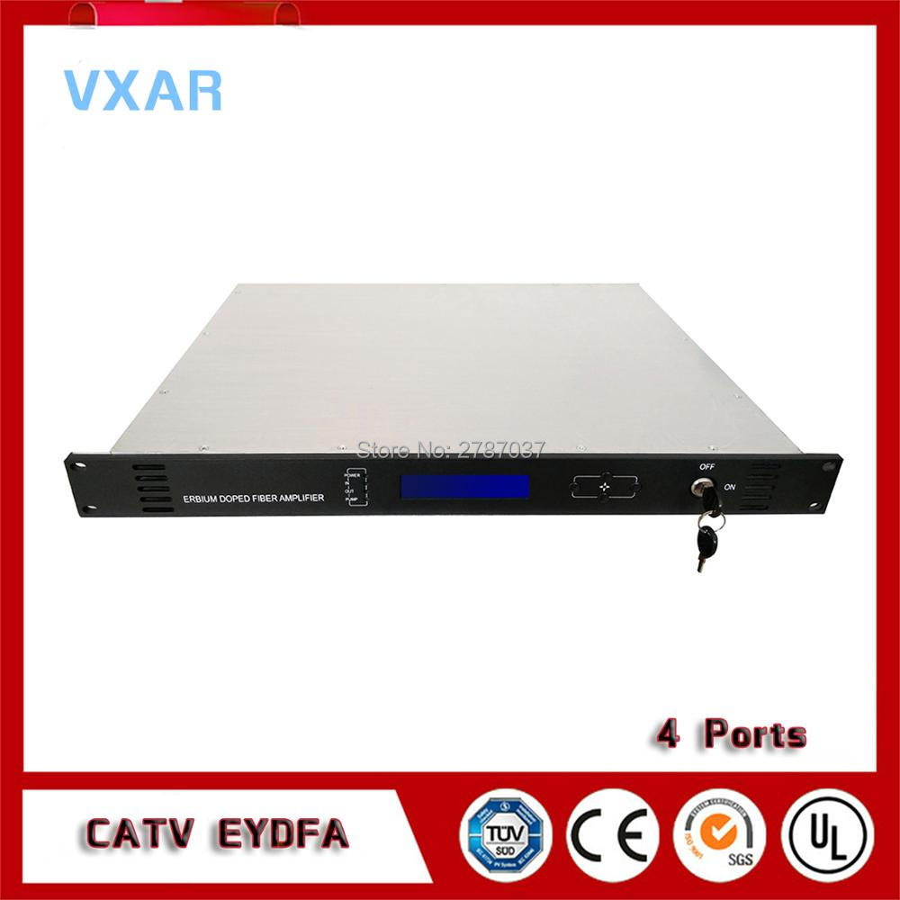 CATV EDFA 1550nm 4 di uscita in fibra ottica amplificatore catv 4 PORTE 18 ~ 24dBm