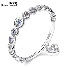 Jewelry Silver Charm-Ring Wedding-Band Cubic-Zircon Heart Small Lover New Gift for Girl