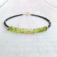 LiiJi Peridots Black Spinels Bracelet Natural Stone 925 Sterling Silver Gold Color Sparkling Delicate Jewelry