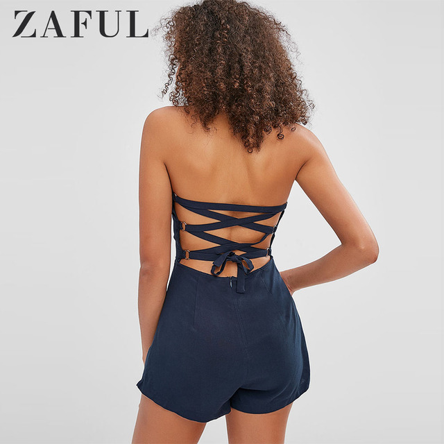 ZAFUL Bandeau Lace-Up Asymmetric Romper Rayon Sleeveless Bodysuits Lace Up Strapless Playsuits Solid Women Summer Clothes 2019