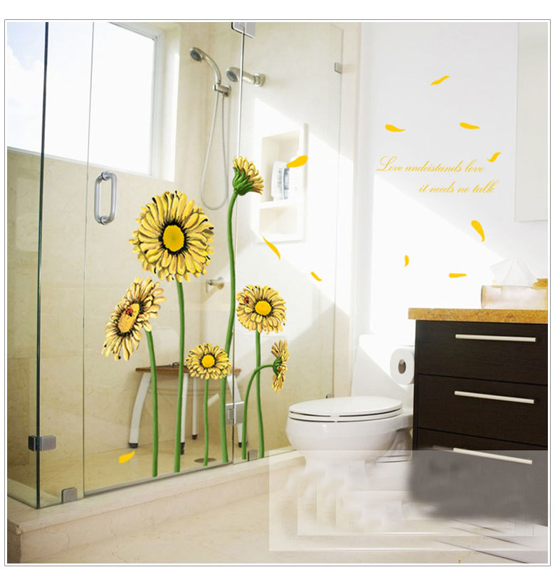 MJ8007A Warm Romantic Sunflower DIY Removable Wall Stickers Wall Decal Home Decor Wallpaper Large Size