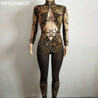 New Crystals Black Mesh Jumpsuit Bright Silver Rhinestones Women's Celebrate Luxurious Costume See Through Jumpsuit