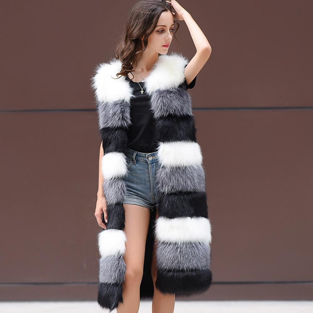 Élégant manteau en fausse fourrure femmes hiver chaud manteau en fausse fourrure col en v sans manches femme veste longue Style femmes gilet de fourrure