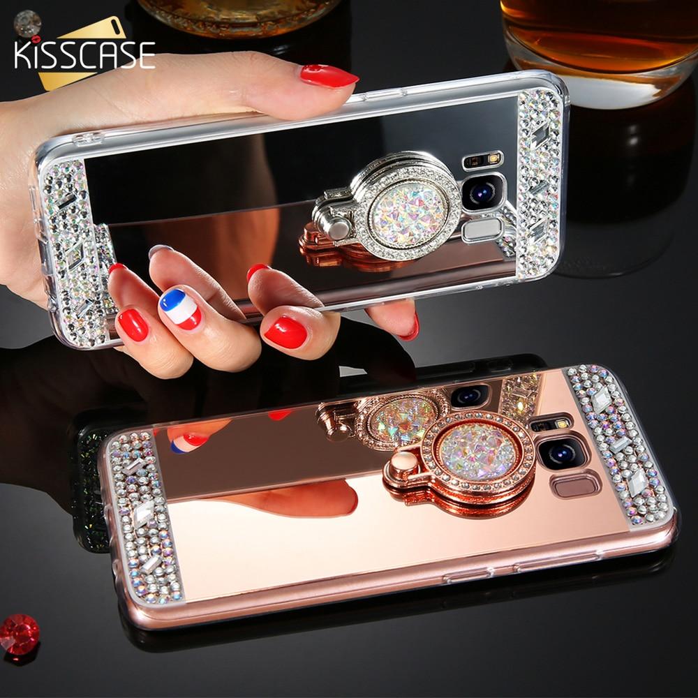 KISSCASE del caso del teléfono del diamante para Samsung Galaxy J7 J5 J3 A3 A5 A7 2017 2016 espejo caso de Galaxy S7 borde S8 más S6 sostenedor del anillo