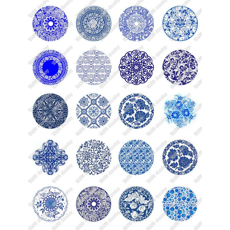 40 יח'\חבילה 10mm 12mm 14mm 16mm עגול כחול לבן פורצלן דפוס זכוכית קרושון לdiy תכשיטים ביצוע ממצאי & רכיב T069