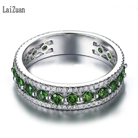 LaiZuan Sterling Silver 925 1.7CT Certified Round Natural Diamond & Chrome Diopside Engagement Women Unique Classic Jewelry Ring