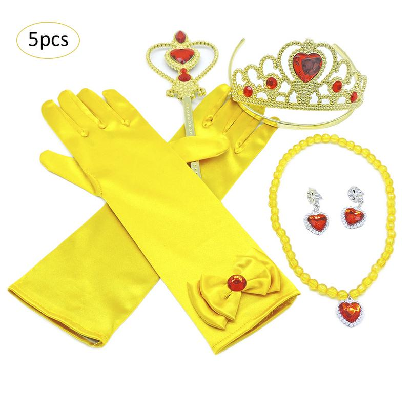 Fashion Yellow Belle Princess Dress Cosplay Costume Accessory Crown Magic Stick Jewelry Set Kids Birthday Party DecorationFashion Yellow Belle Princess Dress Cosplay Costume Accessory Crown Magic Stick Jewelry Set Kids Birthday Party Decoration