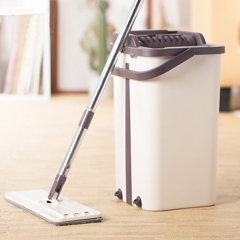 Flat Squeeze Mop and Bucket System with Hand Free Wringing Replacement Mop Pads Wet or Dry