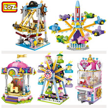 LOZ Mini Blocks ferris wheel Toys A carousel Plastic Assembly Blocks Children Toy Educational DIY Architecture Model 1718