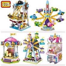 LOZ Mini bloques de construcción de objetos de plástico para niños, juguetes con ruedas, carrusel, montar, juguetes educativos, arquitectura, modelo 1718
