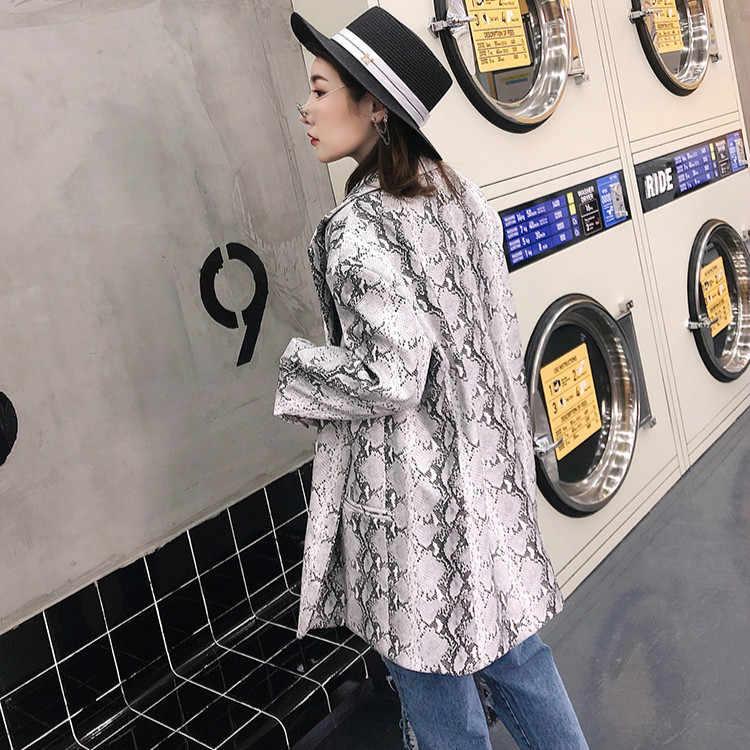BONJEAN Embroidery Jacket for Women 2019 Autumn Outerwear Single Breasted Blazer Coat Leopard Pattern PU Leather Blazer BJ1007
