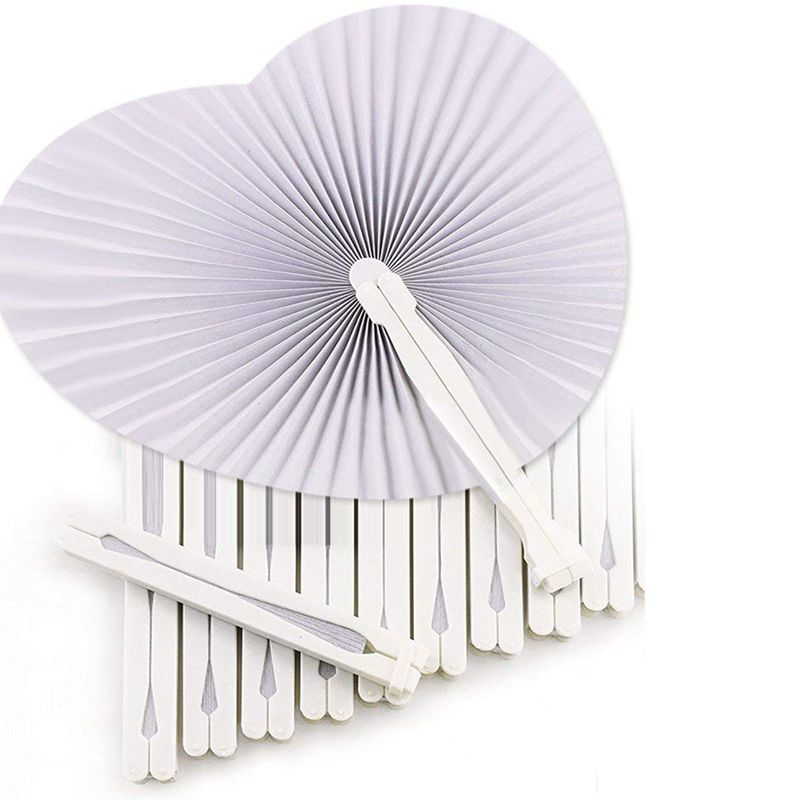 36 Pcs White Wedding Fan - Fans For Ceremony Invitations Heart Shaped Folding - White Wedding Fan Paper Heart Gadgets For Wedd