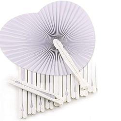 36 pces casamento branco fã-fãs para convites de cerimônia em forma de coração dobrável-branco casamento fã de papel coração gadgets para wedd