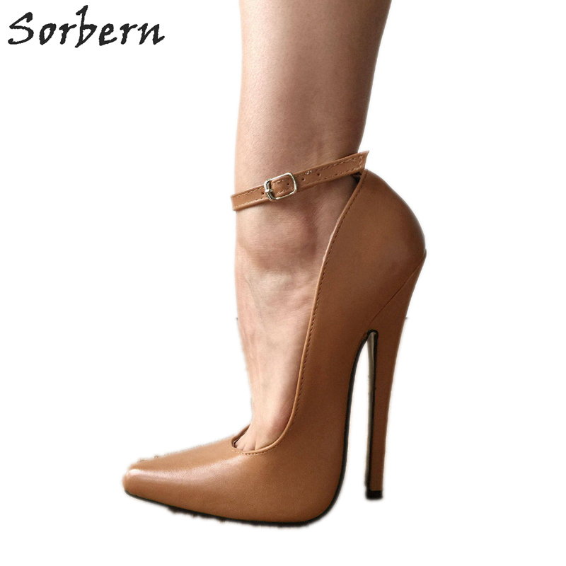 c9a0ae927167a US $77.4 10% OFF|Sorbern Caramel Sharp Toe Women Pump High Heels Shoes  Ladies Plus Size 15 Unisex Mary Janes Fetish 18Cm Stiletto Ankle Strap-in  ...