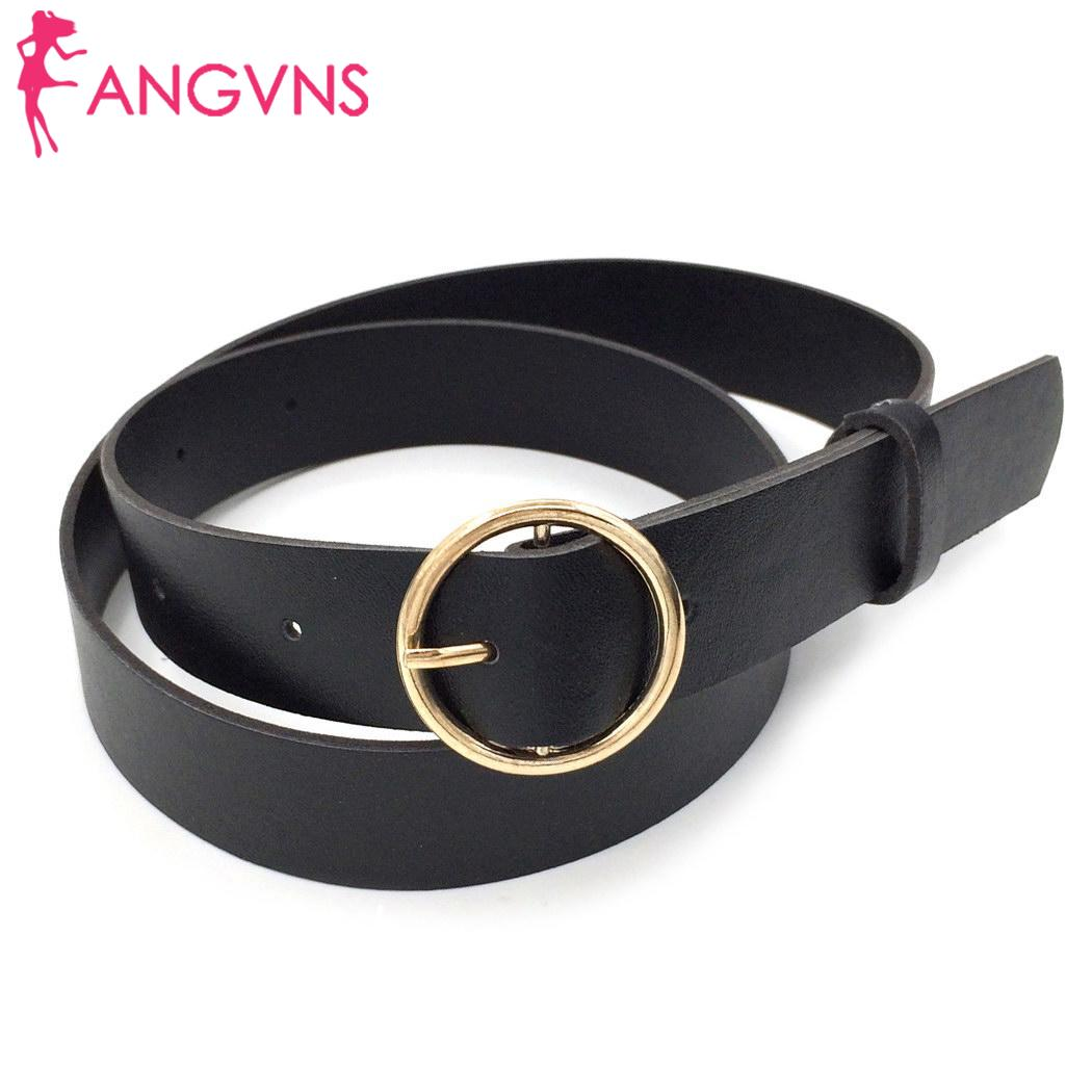 Women   Belts   2019 New Fashion Round Shape Buckle Waist PU Leather   Belts   Ladies Waistbelt Wholesale