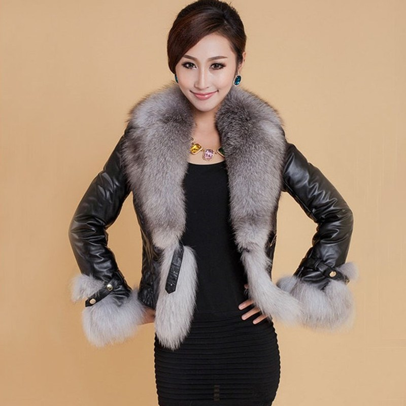 Elegant Short Faux Fur Collar PU Coat Winter Causal Thick Warm Faux   Leather   Coats Solid Plus Size Thicken Black Fluffy Jacket