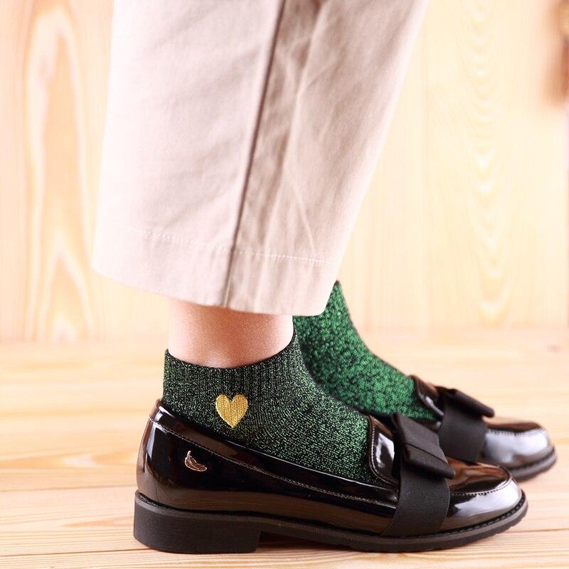 Hot Fashion Sparkling Shiny Women Socks Sweet Love Gold Heart Bling Bling Socks Spring Summer Autumn Soft Glitter Ankle Socks