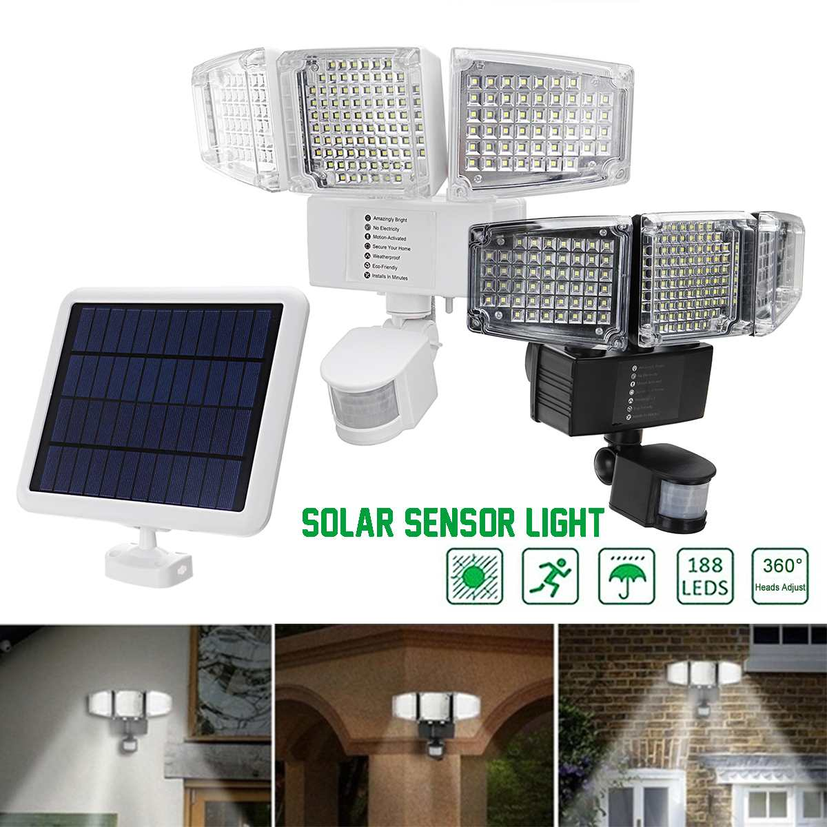 188pcs LED Solar Power Lights Waterproof PIR Motion Sensor Garden Outdoor Wall Lamp 3 Adjustable Light Heads Black White