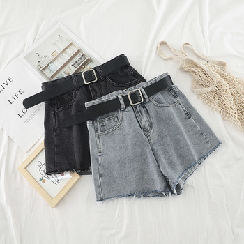 High Waist Hot Denim Shorts 2019 Summer Ripped Tassel Shorts Korean Streetwear Sexy Short Jeans Cowboy Style 1