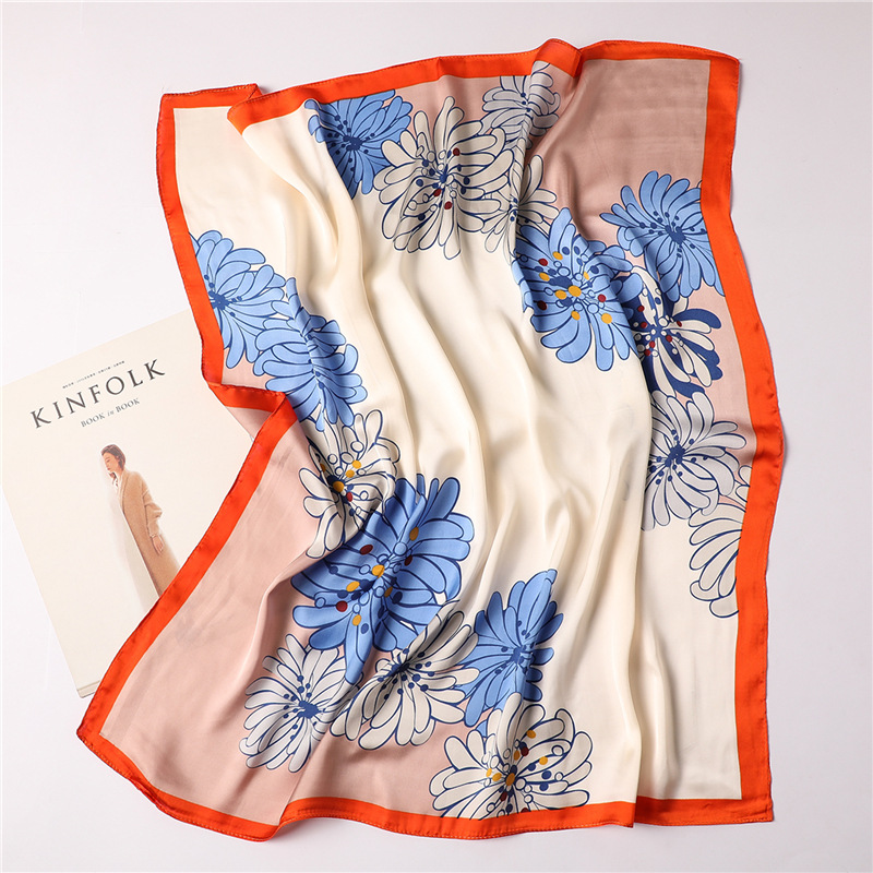 Ruicesstai 2019 new silk scarf for women elegant floral printed square scarves lady neckerchief foulard bandana shawls and wraps in Women 39 s Scarves from Apparel Accessories