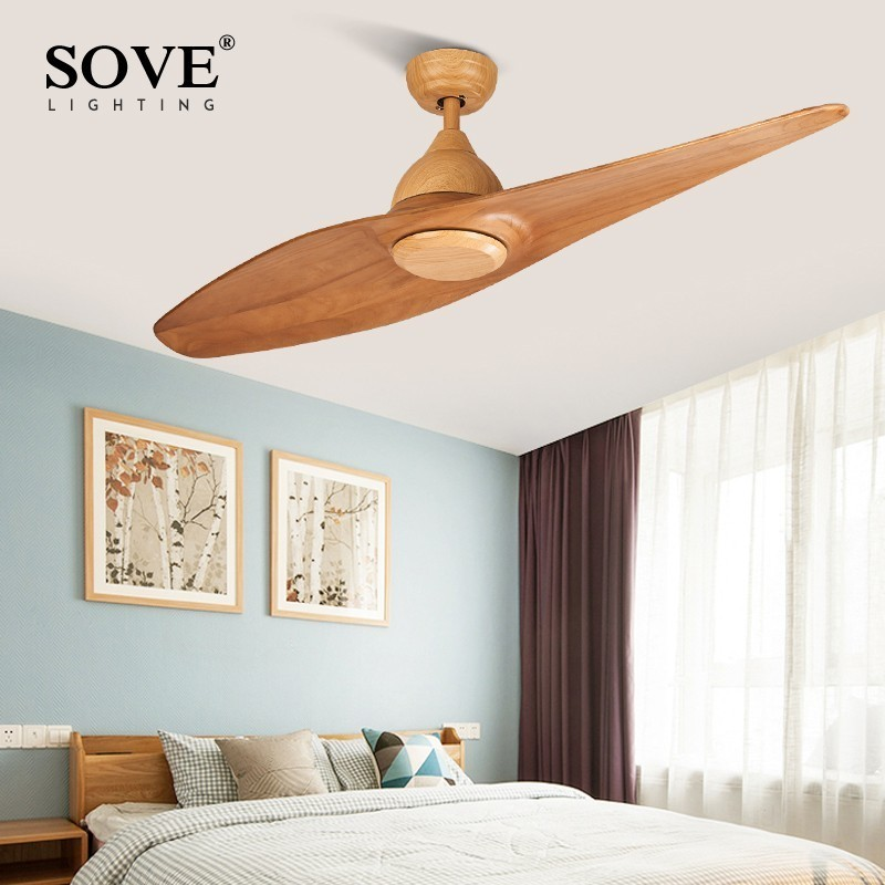 SOVE Creative Design 1 Blade Wooden Ceiling Fan Wood Remote Control Ceiling Fans Without Lights Retro DC Fan Ventilador De Teto(China)