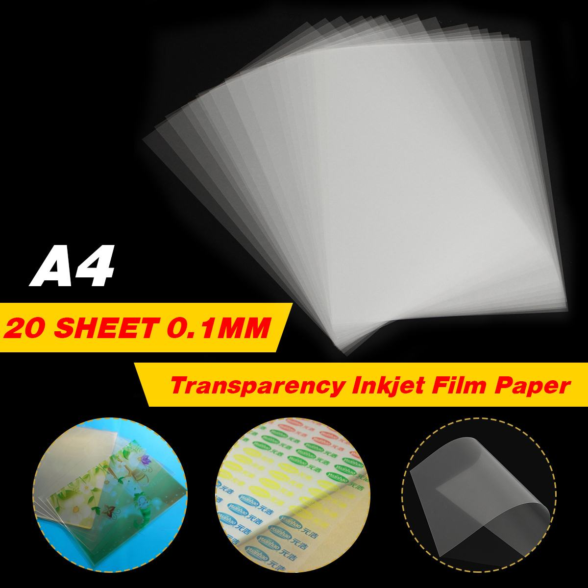 20 Sheet A4 Transparent Inkjet Film Paper Screen Printing Print Stencil Design 29.6 X 21cm Non-waterproof Thickness 0.12mm