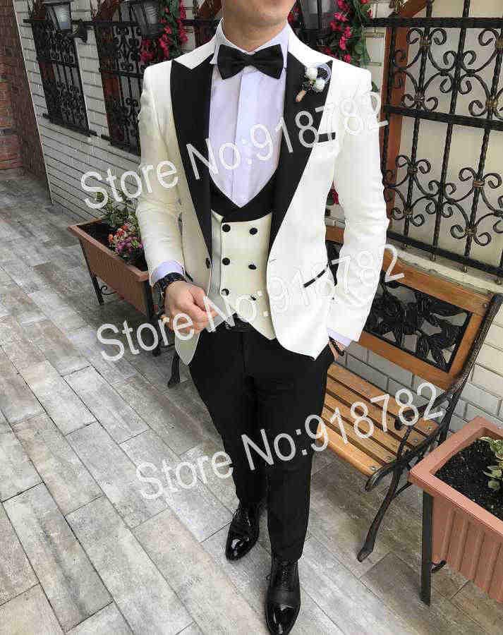 メンズスーツパンツと 2019 terno Masculino スリムフィットカスタムデザイナーホワイト新郎スーツの男性結婚式