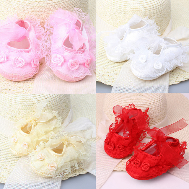 2019 Spring New Cute Baby Girls Newborn Infant Baby Toddler Lace Frilly Flower Non-Slip Shoes 2