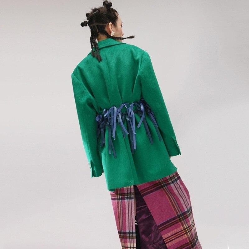 2019 Printemps Manches Grande Fold Femmes Parkas Green Longues Nouveau Bandage Revers eam Marée De Mode Retour Vert Taille Jk065 Laine Manteau q4IwEdq