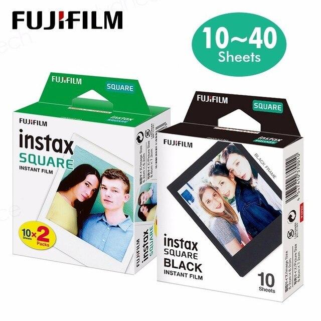 Ban Đầu Bộ Máy Chụp Ảnh Lấy Ngay Fujifilm Instax Vuông Trắng Tức Thì Edge Bộ Phim 10 Tấm Cho Fuji SQ10 SQ20 SP3 Lai Định Dạng Máy Ảnh
