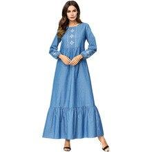 Women Denim Snowflake Embroidered Swing Dress Ethnic Elegant Muslim Abaya Dress Spring Autumn Loose Long Sleeve High Waist Plu crisscross embroidered sleeve hanky hem swing dress