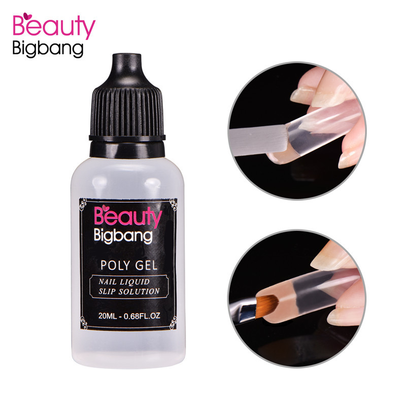BeautyBigBang 20ML Poly Gel UV Soak Off Nail Liquid Slip Solution Acrylic Builder Gel Extended Nail Art DIY Tool Nail Poly Gel