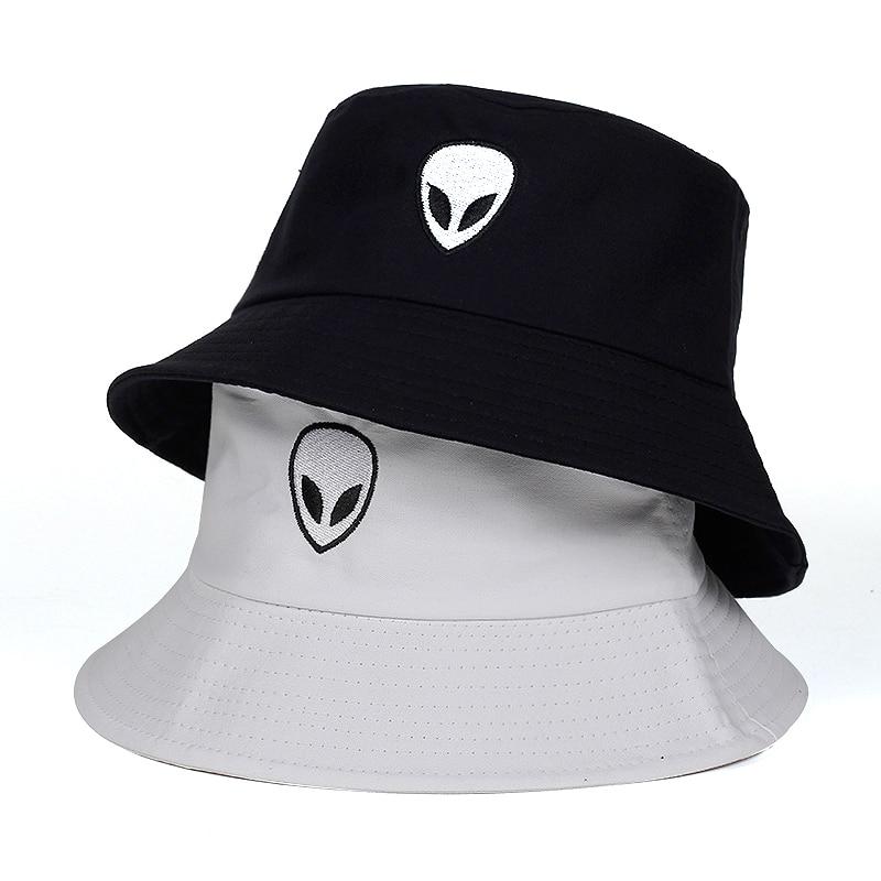 2019 Black White Solid Alien Bucket Hat Unisex Bob Caps Hip Hop Gorros Men Women Summer Panama Cap Beach Sun Fishing Boonie Hats Moderate Price
