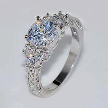 цена на Rings for Women High Luxury Vintage White Crystal Rhinestone 14K Gold Wedding Ring Delicate Jewelry Gemstone Diamante Bizuteria