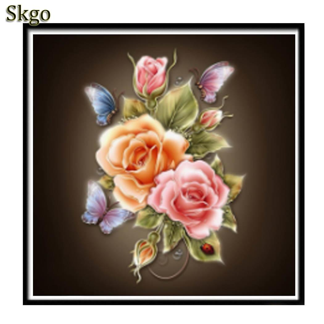 diamond painting DIY Embroidery Plastic Rhinestones Diamond Painting Square Canvas Paintings Flower Modern As Picture