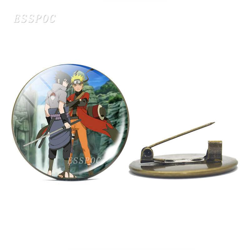 Anime Naruto Shippuden Lencana Perunggu Antik Bros Uzumaki Naruto Uchiha Sasuke Kubah Kaca Lambang Fashion Cosplay Hadiah